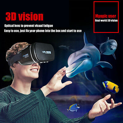 3D VR Box Headset Virtual Reality Glasses Cardboard Game Movie for Phone BU