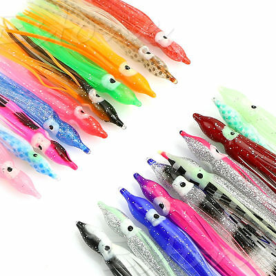 Lot 10Pcs 8 Sizes 4 5 6 9 10 14 15 18 cm Soft Octopus Squid Skirts Fishing Lure