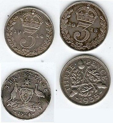 1914 1918 1924 1935 George V Three Pence COIN GOOD CONDITION COLLECTABLE COINS