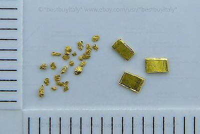 (UK) 1 grain of gold bullion 999 pure+24 gold nuggets 0.6-1.5mm