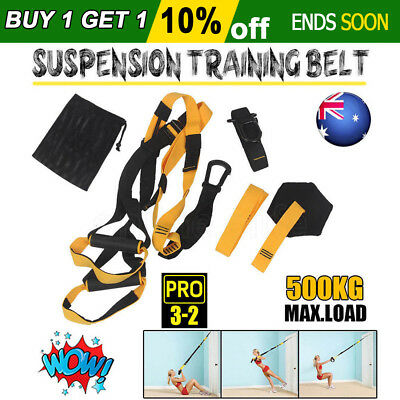 OZ Suspension Trainer Training Fitness Straps Belt Home Gym Exercise Bodyweight