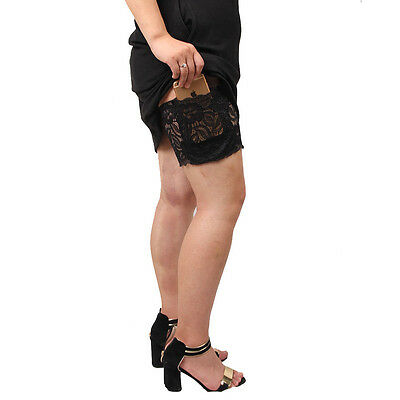 Women Concealed Garter with Cell Phone Pocket Holder Lace Thigh Stocking Purse