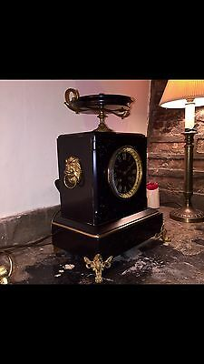 """A Fine Quality French 8 Day Black Marble & Gilt Mantel Clock By """"Marti""""~c1860."""