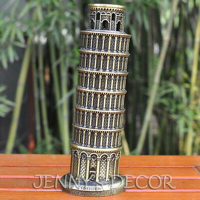 """Architecture Metal Model 8"""" Italy Leaning Tower Of Pisa Replica Travel Souvenirs"""
