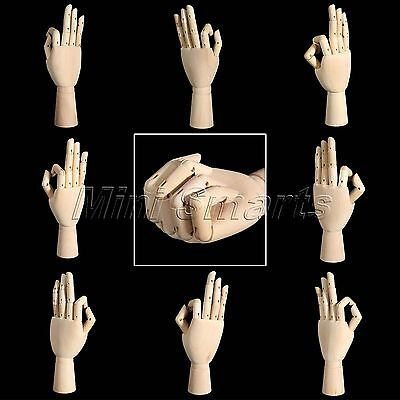 Display Sketching Drawing Wooden Right Left Hand Model Jointed Movable Fingers
