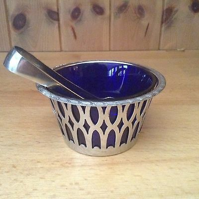Silver Plated Sugar Bowl & Nips With Blue Glass Inner