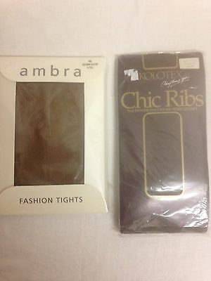 2 x pairs vintage brown ribbed fashion tights ex tall and ex large