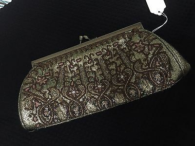 VINTAGE Evening Cocktail Clutch/Bag Gold with Beadwork