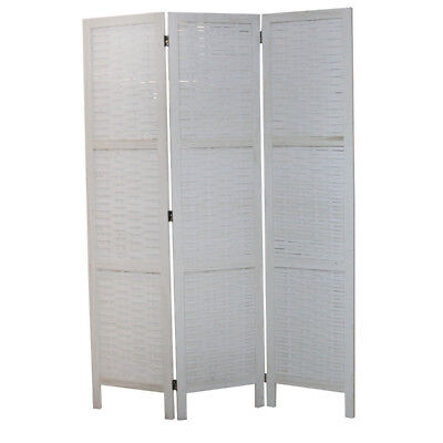 3 Panels White Color Timber Wooden Room Privacy Divider Folding Screen 170 x 160