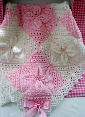 Beautifull Baby Girl Handmade Knitted Blanket. Stunning Gift