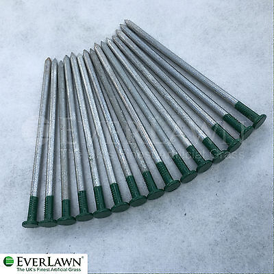 GREEN Artificial Grass Fixing Pegs Strong Galvanised Securing Pins (Pack of 15)