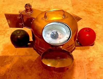 Antique Ships Brass Binnacle Helmet Compass With Oil Lamp And Compensators