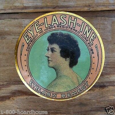 Vintage Original Makeup Cosmetic EYE-LASH-TINE Lashes Tin 1916 NOS Unfilled