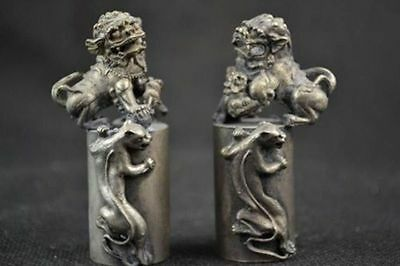A Pair Collectible Decorated Hand Tibetan Silver Carving Kylin Seal
