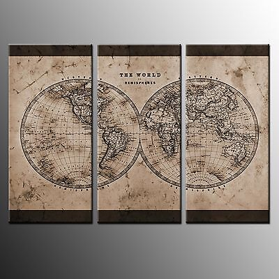 Framed Wall Art Canvas Prints World Map Canvas Painting Art For Home Decor-3Pcs