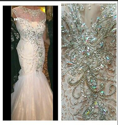 Macduggal Special Occasion Evening Gown Size 8-10 Lace,rhinestone,tulle Ivory Wo