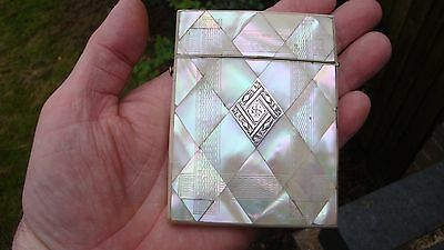 ANTIQUE 19c MOTHER OF PEARL CALLING CARD CASE SOLID SILVER INSERT