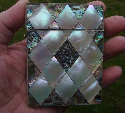 ANTIQUE 19c MOTHER OF PEARL ABALONE SHELL CALLING CARD CASE VISITING