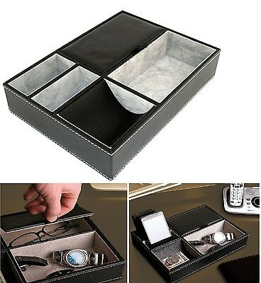 Leather Organizer Tray Key Wallet Storage Valet Box Desk Holder 5 Compartments