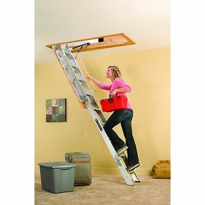 Louisville Ladder AA229GS Elite Aluminum Attic Ladder 350 Pound Capacity 22.5...