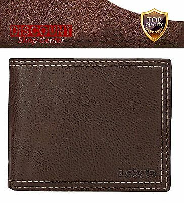 Levis Mens Wallet Bifold 100% Genuine Leather Purse Capacity Card Slots Brown