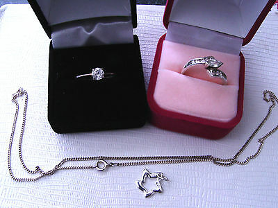 Assorted Solid 925 Silver Jewellery 1 Chain 2 Rings 1 Pendant
