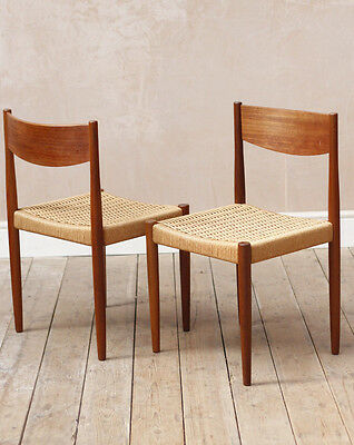 Lovely Vintage Mid Century Frem Rolle Teak Papercord Dining Chairs x2