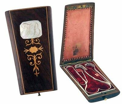 Rosewood Sewing Etui with inlay and Mother-of-Pearl *C.1860s