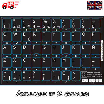 Spanish Black Keyboard Stickers with White Letters for Laptop Computer PC