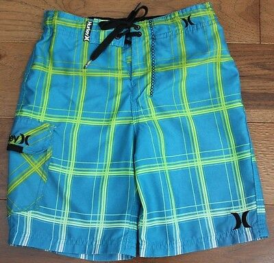 Hurley BOYS SWIM SHORTS sz 7 Trunks Ombre Blue ADJUSTABLE WAIST Beach Resort