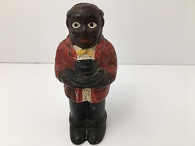 Vintage Bank Black Americana Uncle Moses Cast Iron Man With Hat