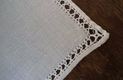 Antique Italian Linen Luncheon Napkins Drawn Thread Set 8 Ecru