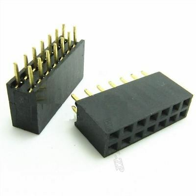 2019 New Style 6pcs 2x6 12 Pin 2.54mm Double Row Female Straight Header Pitch Socket Pin Strip Active Components
