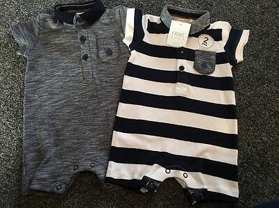 Next BNWT 2 pack ☆ Baby Boy ☆ Beautiful☆ POLO ROMPERS ☆ 3-6 Months ☆ Holiday