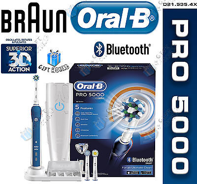 Oral-B Pro 5000 Cross Action Rechargeable Electric Toothbrush with Bluetooth NEW