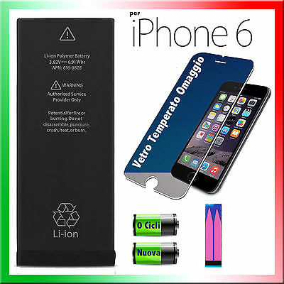 BATTERIA per APPLE iPhone 6 1810mAh CAPACITA' ORIGINALE+ ADESIVO E VETRO-0 CICLI