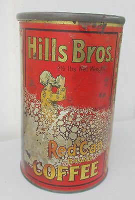 1915 Hills Bros. 2 1/2 lbs. Tall Red Can Brand Coffee Tin PPIE Indorsement