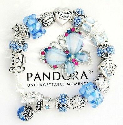 Authentic Pandora Silver Bracelet Blue Butterfly MOM MOTHER European Charms New