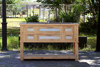 Reclaimed Wood Island Stainless Steel Farm Sink Craftsman Apothecary Chest Set