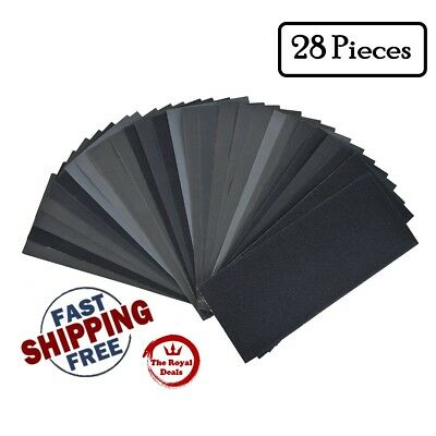 140 Pcs Grit Sandpaper Assorted Wet/ Dry for Cars Wood Sanding + Free Pouch