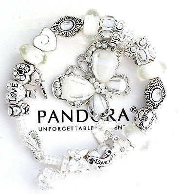 Authentic Pandora Silver Bracelet White Butterfly MOM MOTHER European Charms New