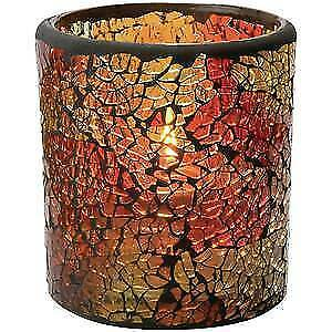 """Crackle Votive Candle Holder Red & Gold Glass 3""""Dia x 3 1/4""""H, 52405"""