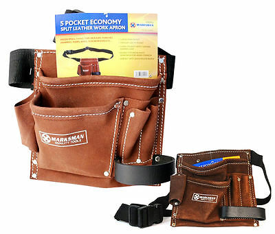 Builders Bag Belt Storage Belts 5 Pocket Double Split Suede Leather Tools Pouch