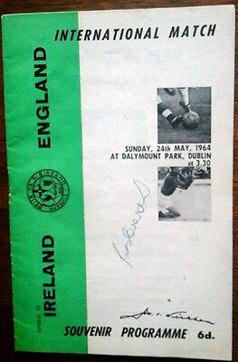 Republic Of Ireland V England 24/5/1964 International Autoed By Pat Crerand