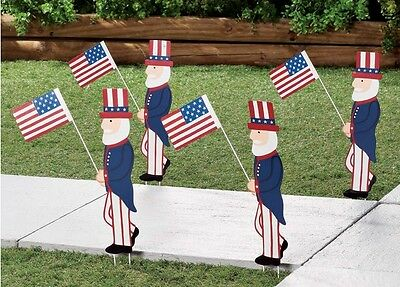 Patriotic Uncle Sam Holding American Flag Metal Garden Stakes Double Sided 4-PC