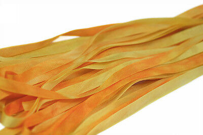 7mm Hand Dyed Silk Ribbon  - 3 meters Falling Leaves Yellow
