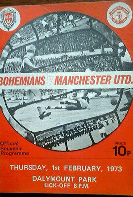 Bohemians V Man Utd 1/2/1973 Friendly