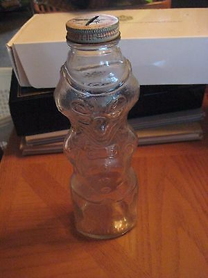 "VINTAGE  DOUBLE SIDED  'U-BET SYRUP"" FOX FIGURE GLASS BOTTLE- WITH  Cap"