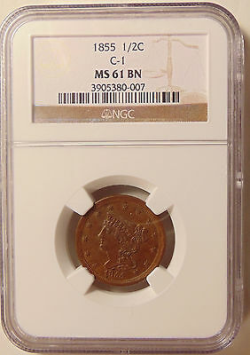 1855 Braided Hair Half Cent - NGC MS61 Brn - Very Pretty Uncirculated Coin