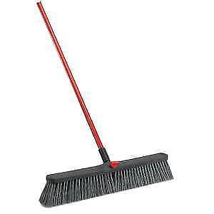 """Libman Push Broom Rough Surface 24"""" Black with Red Handle, 41389"""